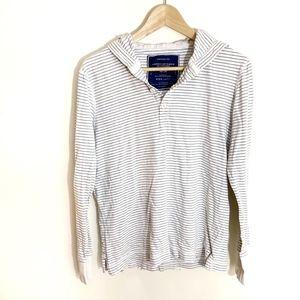 AEO men striped long sleeves hooded shirt Medium